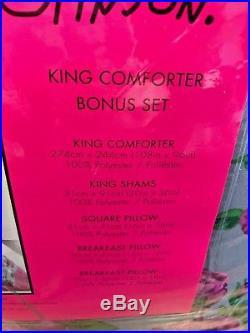 NEW 6 Pc Betsey Johnson Flower Dandy Full Queen King Comforter SET Floral SKULLS
