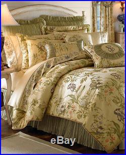 NEW Croscill IRIS 4pc Queen Comforter Set Sham $435 Multi Ivory Green