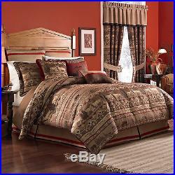 NEW Croscill Pondera Rustic Deer Bear Comforter Shams Bed Skirt 4 Pce Set Queen