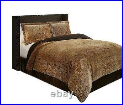 NEW Golden Brown Leopard Animal Printed Plush 3 pcs King Queen Comforter Set