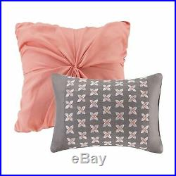 NEW Twin XL Full Queen Bed Coral Gray White Painted Floral 5 pc Comforter Set