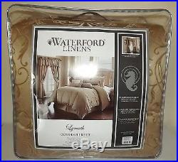 New Waterford Linens Lynath Queen Size 4 Piece Comforter Set Gold
