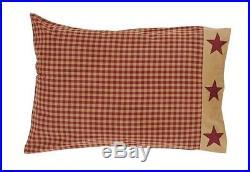 NINEPATCH STAR 3pc Full Queen QUILT SET RED BROWN RUSTIC PRIMITIVE COMFORTER