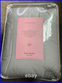 NWT Kate Spade New York Charlotte Street 3-PC QUEEN Comforter SET White / Grey