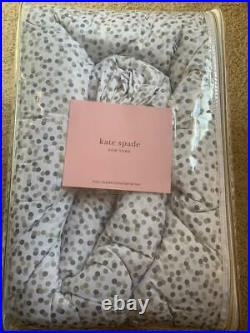 NWT Kate Spade New York Polka Dot 3-PC QUEEN Comforter SET WhiteGreySilverTaupe