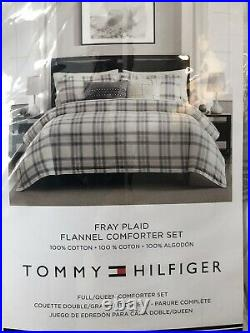 NWT Tommy Hilfiger FRAY PLAID FLANNEL Full/Queen Size Comforter SET White Gray