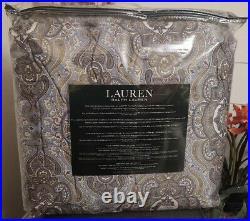 New $365 Ralph Lauren Colchester Mist Paisley Blue Queen 3-Piece Comforter Set