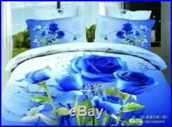 New 3D Blue Rose Queen King Bedding Set Flower Print Comforter Set 4Pcs