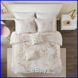 New! Beautiful Chic Soft Pink Gold Metallic Abstract Luxury Girl Comforter Set