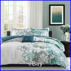 New! Chic Modern Blue Grey Flower Aqua Teal White Contemporary Comforter Set