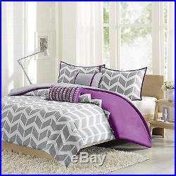 New! Modern Grey Purple Chevron Zig Zag Sport Stripe Comforter Set & 2 Pillows