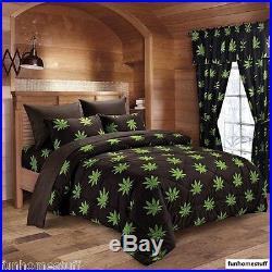 New Pot Marijuana Leaf Weed 420 Microfiber Bed Sheets Soft Sheet Set + Comforter