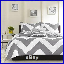 New! Reversible Grey White Chevron Stripe Zig Zag Bed Comforter Set Full Queen