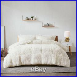New Silky Soft Ivory Faux Fur Mink 3 pcs Cal King Queen Comforter Set
