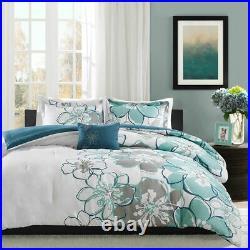 New Soft Modern Blue Grey Seafoam Aqua Navy Teal Flower Comforter Set Full Queen