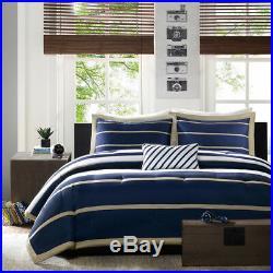New Sporty 4 Pc Blue White Navy Tan Beige Boys Teen Stripe Soft Comforter Set