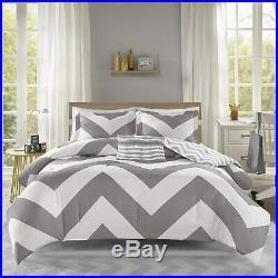 New! Sporty Grey White Chevron Stripe Nautical Boy Casual Soft Comforter Set