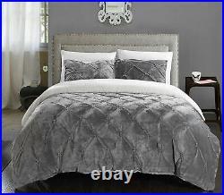 New! Ultra Soft Cozy & Plush Chic Faux Fur Ruffle Luxury Grey Comforter Set