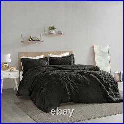 New! Ultra Soft Plush Black Faux Fur Lush Luxury Full Queen Warm Comforter Set