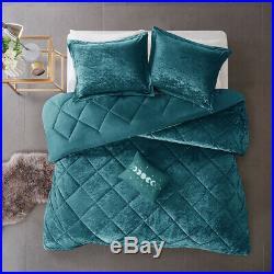 New! Ultra Soft Plush Chic Velour Velvet Teal Blue Comforter Set Full / Queen