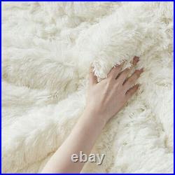 New! Ultra Soft Plush Lux Ivory White Faux Fur Lush Luxury Chic Comforter Set