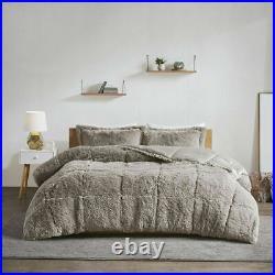 New! Ultra Soft Plush Luxurious Grey Faux Fur Lush Luxury Chic Comforter Set