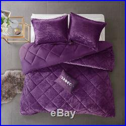 New! Ultra Soft Plush Luxury Chic Velvet Purple Girl Comforter Set Full Queen