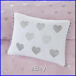 New Ultra Soft Plush Modern Chic Silver Heart Pink Girls Comforter Set & Pillow