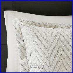 New Warm Down Alt Ivory Faux Fur Chevron 3 pcs Cal King Queen Comforter Set
