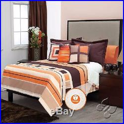 Orange/Brown Argentina Comforter Set with Sherpa 6-7pcs in cotton and polyester