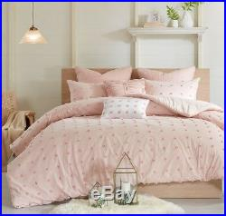 PINK DOTS Twin Queen Cal King 7pc COMFORTER SET TUFTED COTTON DOT QUILTED