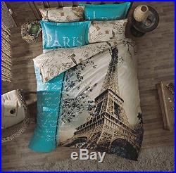 Paris Bedding Eiffel Tower Duvet Cover Set, Double-Full/Queen, with COMFORTER 7 PC
