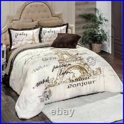 Paris Brown with Beige Reversible Comforter Set by Intima Hogar