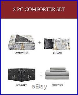 Paris Gold 8-Pc California King Size Reversible Comforter Set. (Comforter Set)
