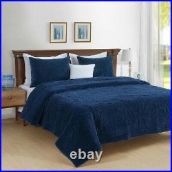 Park Avenue Charlotte Cotton velvet ComforterCoverlet set Navy