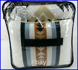 Pendleton 5 Piece Comforter Set With Embroidered Pillows, Savanna Stripe, Queen