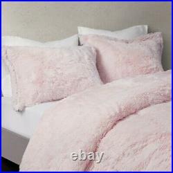 Pink Ombre Soft Faux Fur Comforter Set Ultra Plush Blush Shaggy Bear Hug
