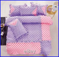 Polka Dot Cotton Touch Comforter Set With Sheet HIGH QUALITY Purple & Pink