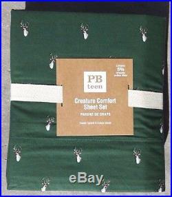 Pottery Barn Creature Comfort Queen Sheet Set Dark Green Buck Deerchristmas