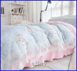 Princess Blue Floral Rose Bedding Duvet Comforter Cover Set Lace King Queen Size
