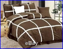 QUEEN size Bed in a Bag 7 pcs Micro Fur Comforter Bedding Ensemble Set BROWN