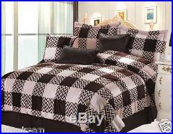 QUEEN size Bed in a Bag 7pcs Micro FurComforter Bedding Ensemble Set-CHECKERED