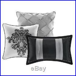Queen Black White Gray Medallion Damask Bedroom 7 Pc Comforter Pillow Bed Set