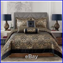 Queen Cal King Bed Black Gold Floral Jacquard 7 pc Comforter Set Bedding Elegant
