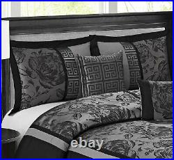 Queen Cal King Bed Black Silver Asian Scroll Floral Striped 7 pc Comforter Set
