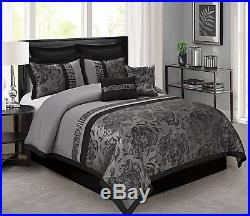 Queen Cal King Bed Black Silver Asian Scroll Floral Striped 8 pc Comforter Set