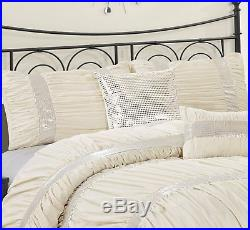 Queen Cal King Bed Ivory Cream Silver Sequin Striped 7 pc Comforter Set Bedding