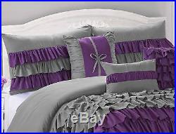Queen Cal King Bed Purple Gray Grey Ruffles Ruched 7 pc Comforter Set Bedding