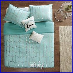 Queen Comforter Set for Girls Women Bedding Full Teal Blue Blanket Throw Pillow