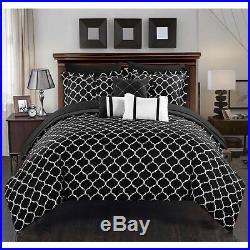 Queen King Bed Bag Black White Pintuck Pleat Geo Reversible 10 pc Comforter Set